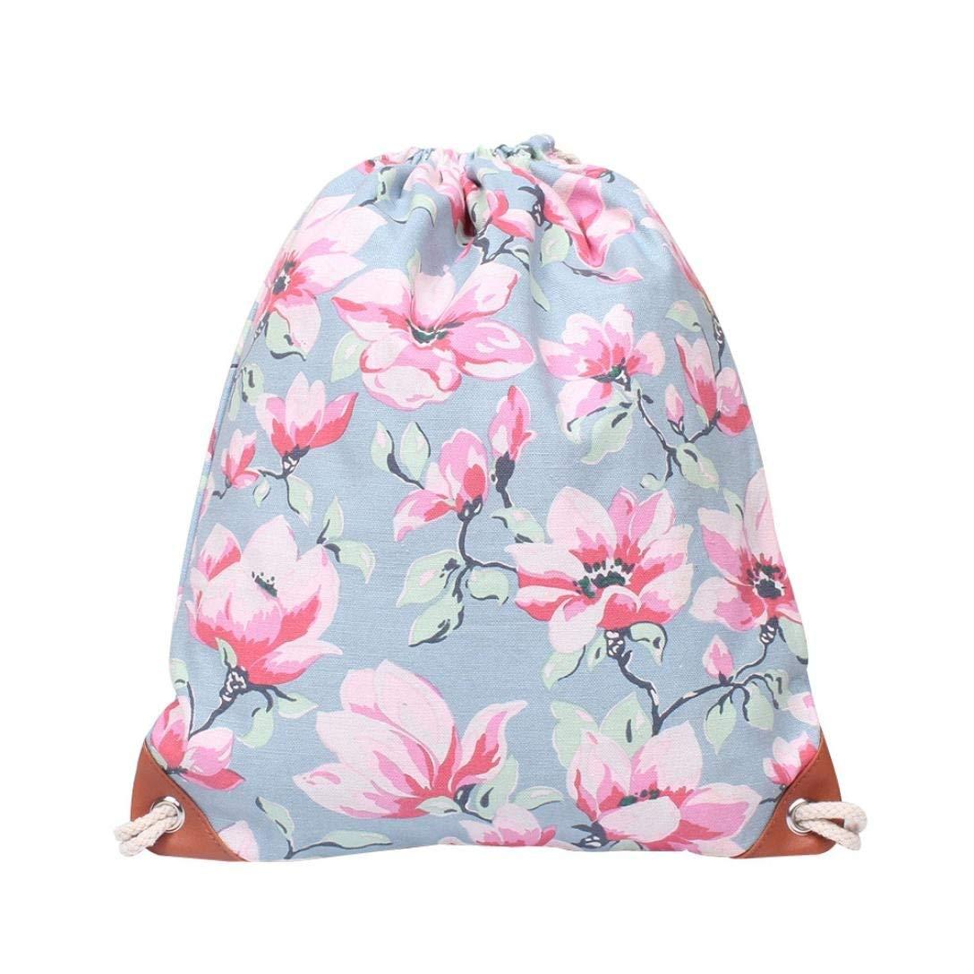 Women Printing High Capacity Bucket Backpack Shoulder Bag Drawstring Backpack Shopping Bag Travel Bag Faionny