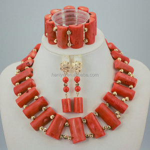 nigerian fashion bridal wedding Jewelry Set for women Knitting with beads coral Jewelry Set African style jewelry set
