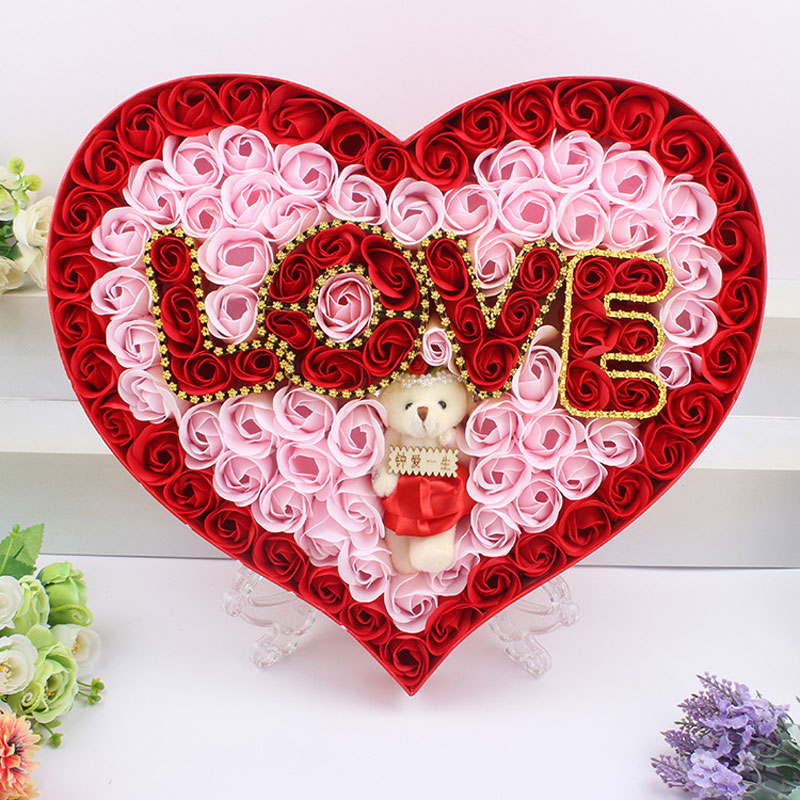 2016 Cute Cartoon Teddy Bear Artificial Rose Flower Love