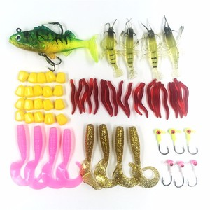 YOUME Soft Fishing Lures Lead Head Hook Earthworm Red Bug Bionic Bait Soft Shrimp Baits Silicone Fishing Tackle Set