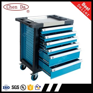 6 drawers blue/red color steel tool cabinet/ tool trolley/drawer cabinet with stainless steel top