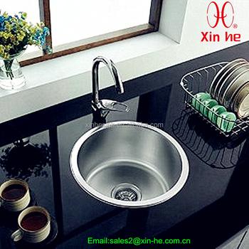 Stainless Steel Top Mount Single Round Bowl Kitchen Sink Bar Sink ...