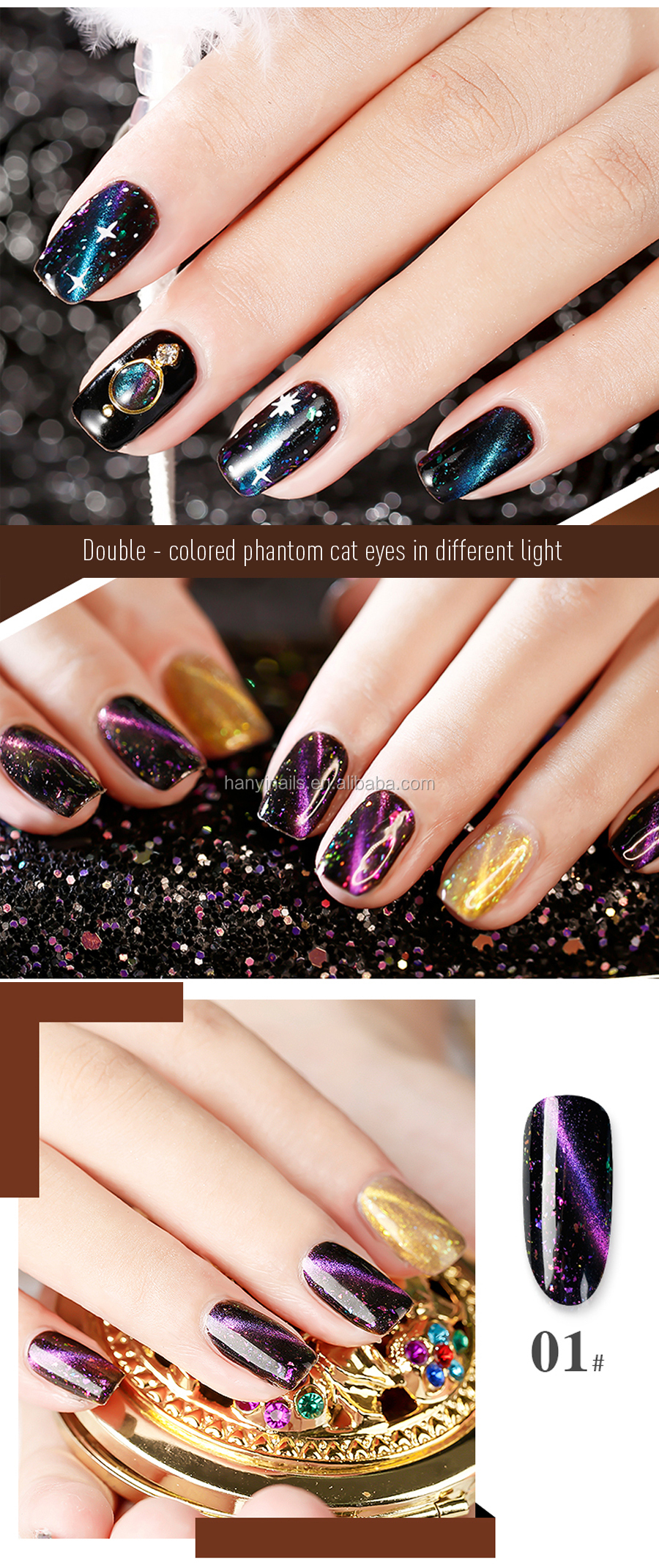 new hot selling Private Label Wholesale  the milky way starry cat eye magnetic UV/LED Gel Nail Polish