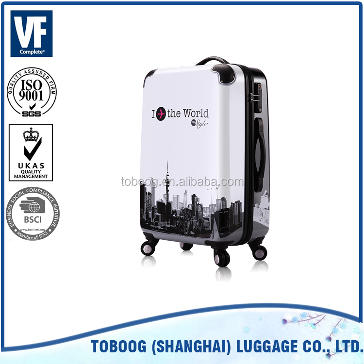 Hot selling ABS+PC fashion design TSA code lock cartoon trolley luggage