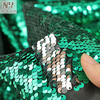 Nanyee Textile Mermaid Flip Up 2 Tone Green Silver Sequin Fabric