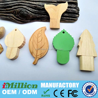 customized wooden leaf shape USB flash memory sticks pen drives