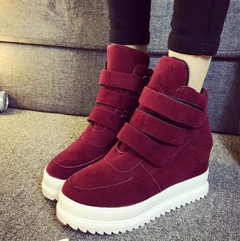 b84f44465a75b 2016 de las mujeres de la moda Zapatos Deportivos zapatos de gamuza corto  cuñas botas para