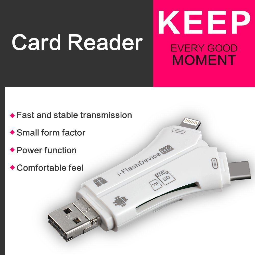 Card Reader 4 in 1 i Flash Drive USB Micro SD TF Card Reader Adapter for iPhone 5 6 7 8 X for iPad macbook Android Camera Tpye C