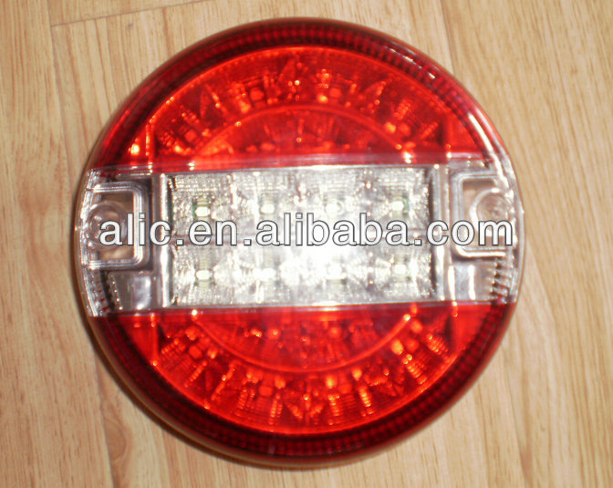 12V24V RED & CLEAR LED REAR ROUND HAMBURGER TAIL LAMP FOR TRUCK/TAILER