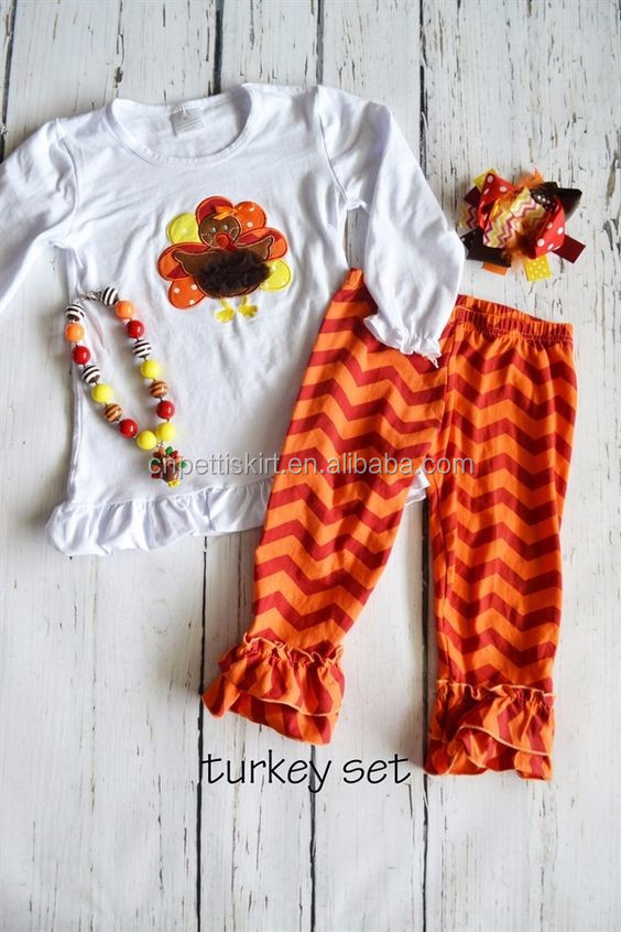 2016 New Hot Sale Baby Girls Thanksgiving Outfits Turkey Fall