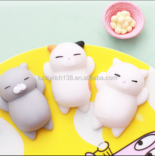 Newest!Super cute!Customed 3D silicone nail finger pinch cartoon lovely cat toy doll for sticking on cell phone/computer