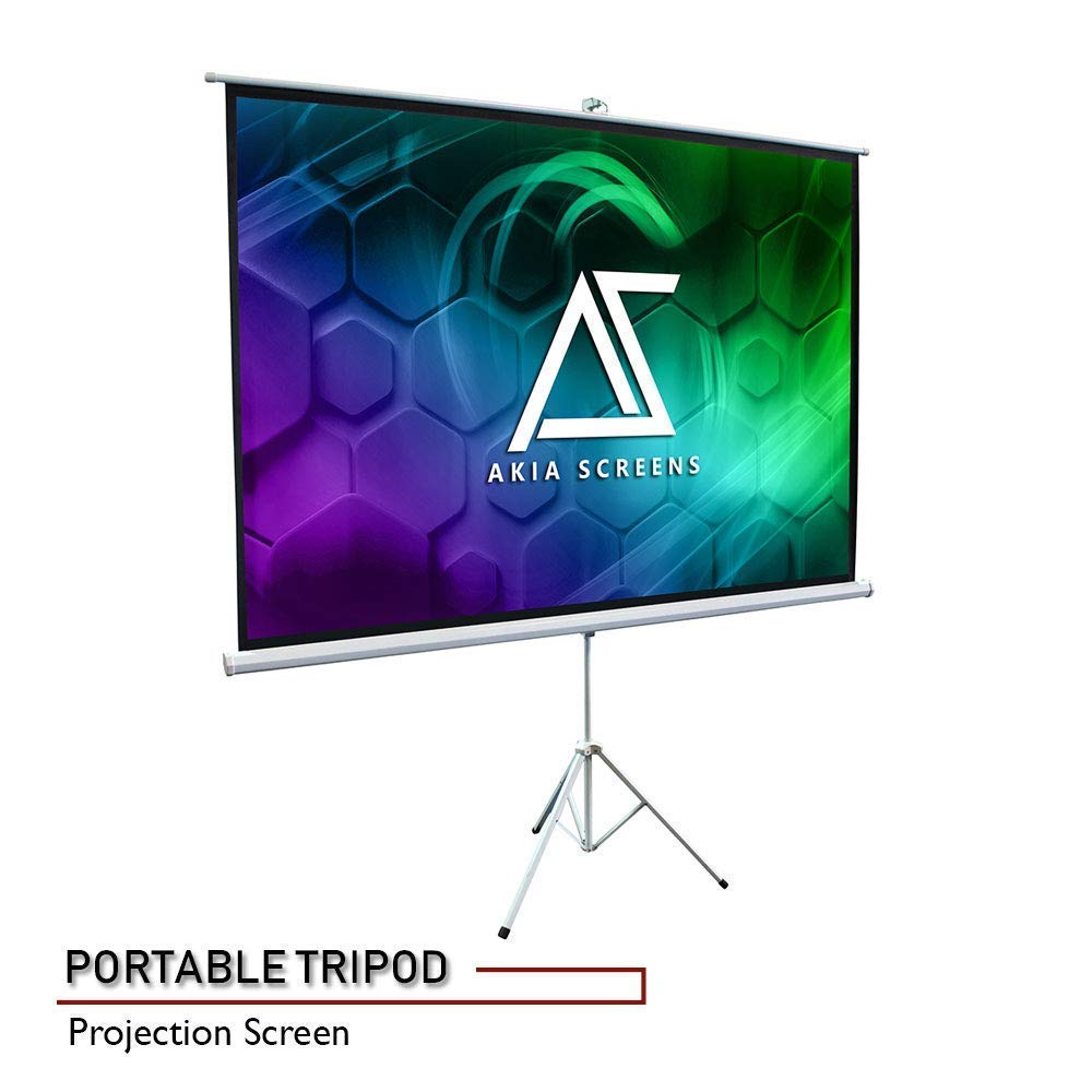 "Akia Screens 100"" Portable Indoor Outdoor 4:3 Tripod Projector Screen 8K / 4K Ultra HD 3D Ready Pull Up Collapsible Projection Screen with Adjustable Tripod Stand Foldable Projector Screen AK-T100SB1"