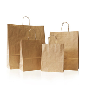 Custom brown kraft Paper Gift twisted Handles paper grocery retail carry shopping bag