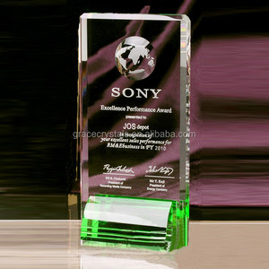 Rectangle green glass award plaques