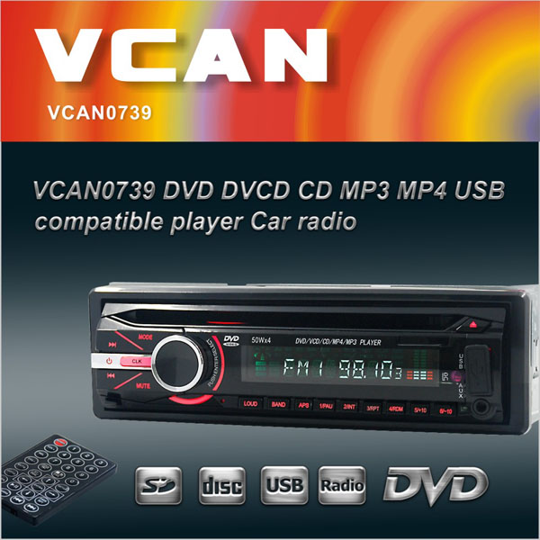 VCAN0739 Detachable front panel Single-Din USB/SD/DVD/CD dvd player for car