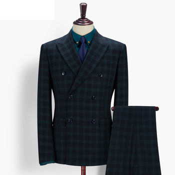 cb4ed71f6f3e Mens 3 Piece Double Breasted Peaked Lapel Dark Green Checked Suits ...