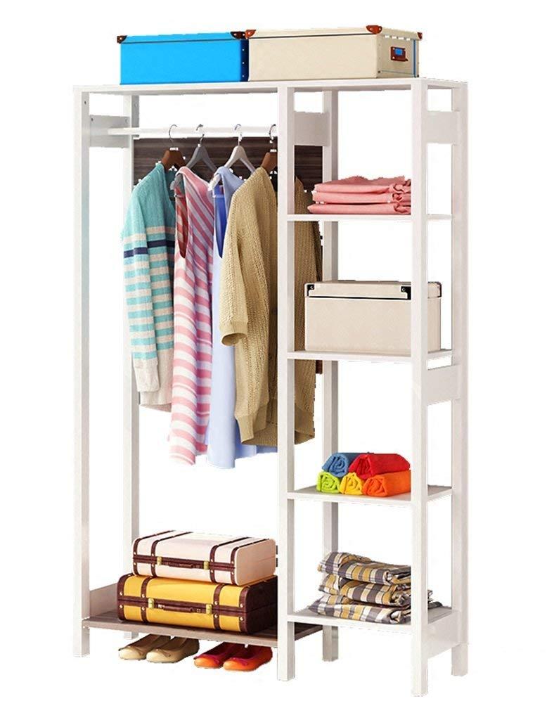 YXX- Home-Like Single Rod Closet Freestanding Wood Wardrobe Living Room Bedroom Portable Coat Rack Storage Garment Scarf Package Hat Shoe Floor Hangers (Color : Black wood grain, Size : 93141.5cm)