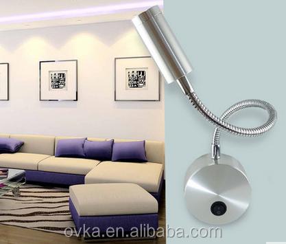 Wholesale 3W gooseneck modern hotel bed reading wall light led ...