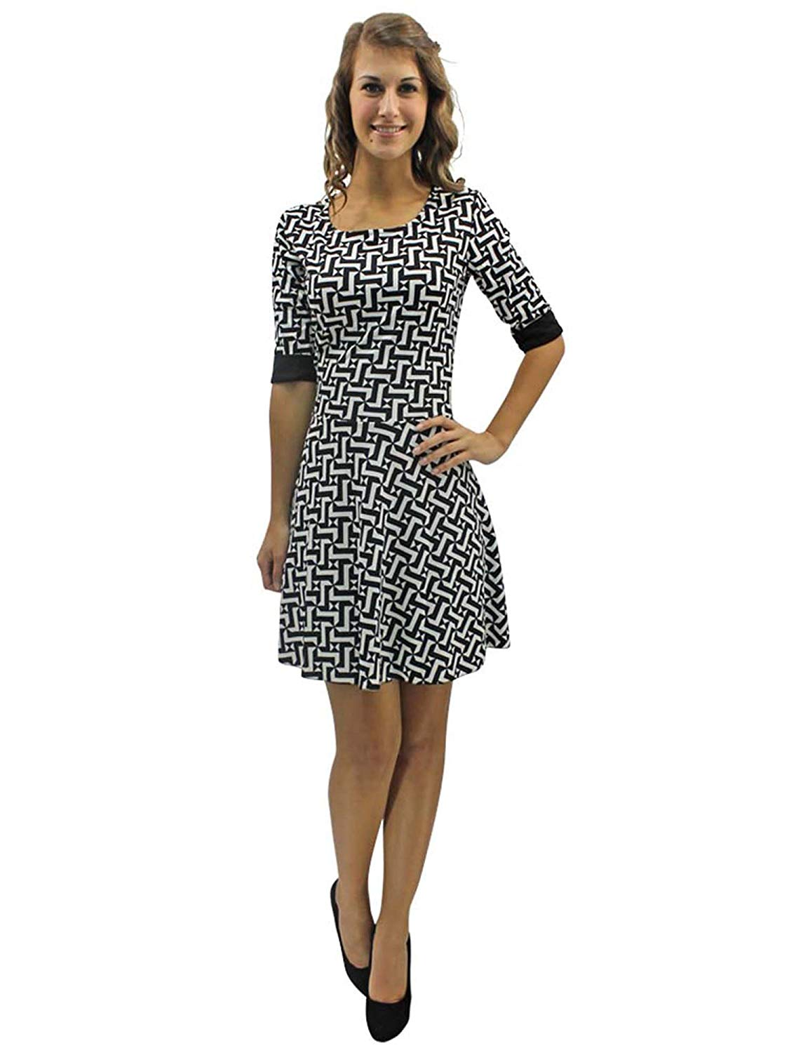 692a7f643f Get Quotations · Luxury Divas Black   White Geometric Skater Dress With  Sleeves Size Large