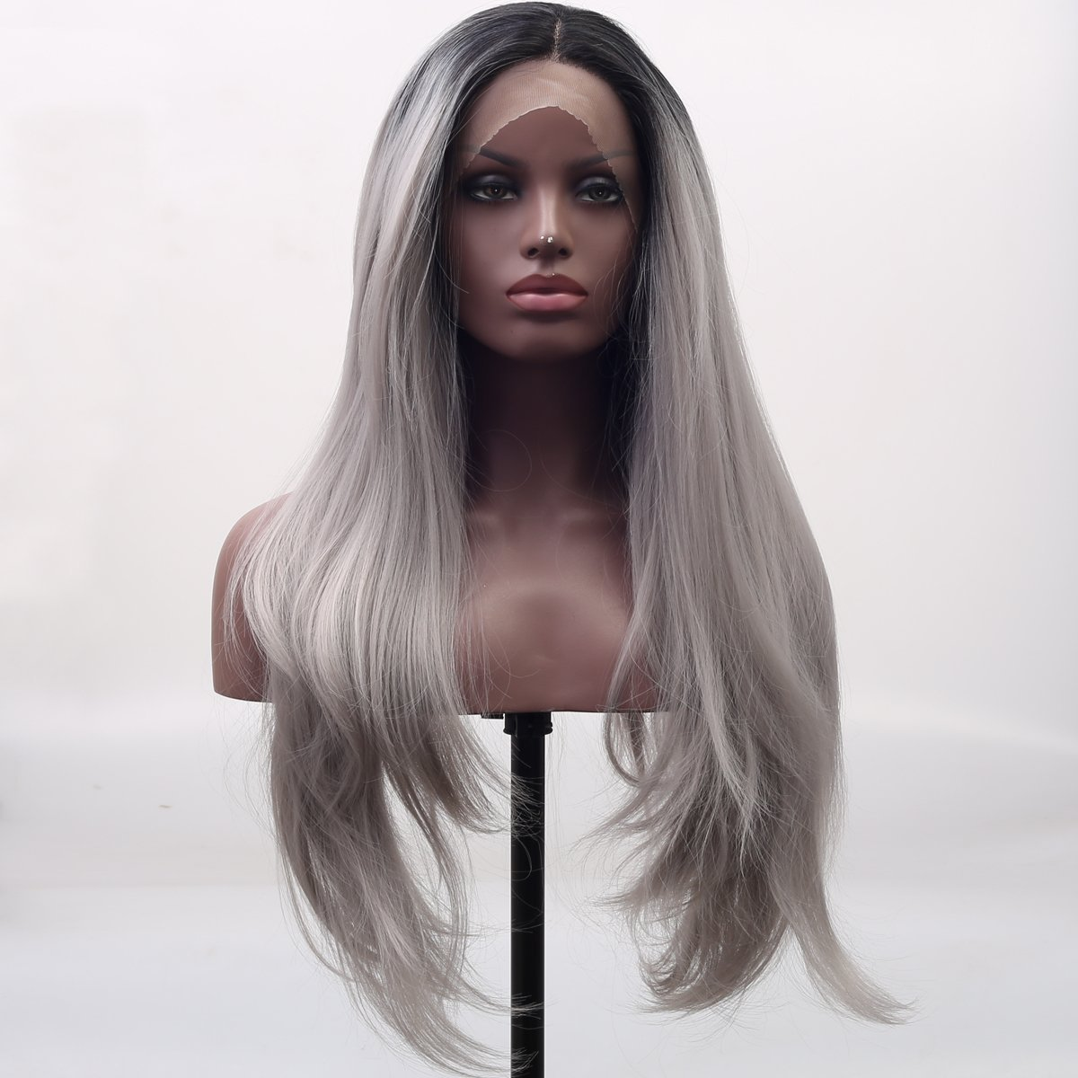 Arimika Natural Straight Short Black Roots Silver Grey Ombre Synthetic Hair Lace Front Wigs