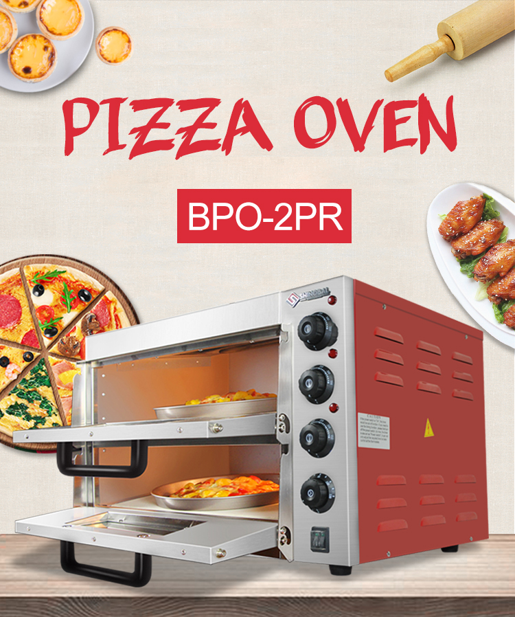 Kitchen bakery Oven 2 Layer Red Paint Body Pizza Oven Commercial with Time Control