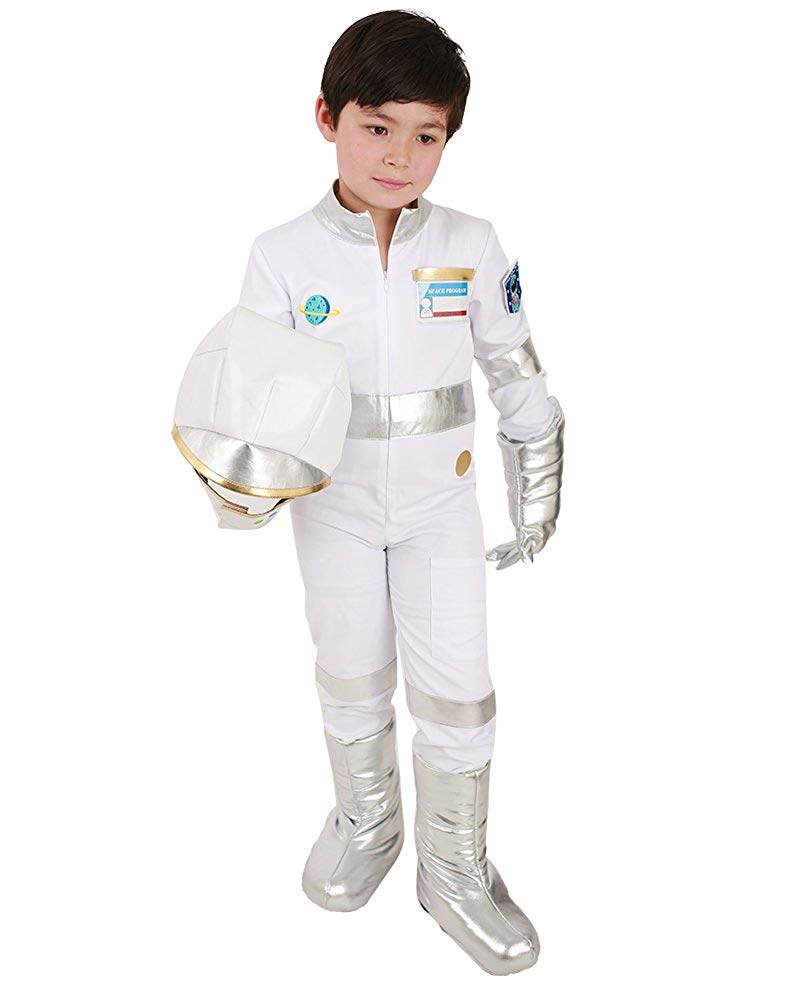 d63027aa000d Get Quotations · Miccostumes Kids Astronaut White Halloween Helmet Jumpsuit  Costume with Gloves Shoes Cover