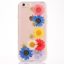Handmade Dried Real Flowers Clear Silicone Mobile Phone Case Soft Phone Case TPU for iPhone 8