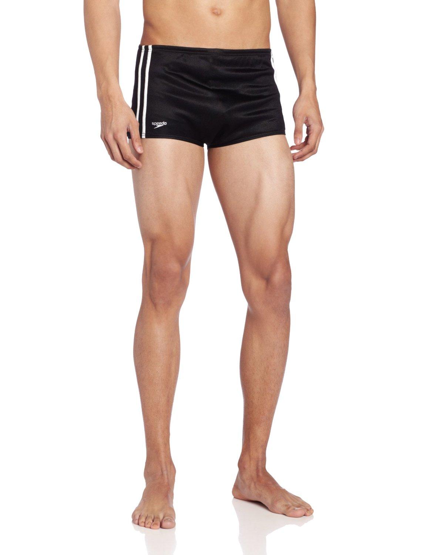 79cd3dc53 Get Quotations · Speedo Men s Nylon Stripe Square Leg Bathing Suit
