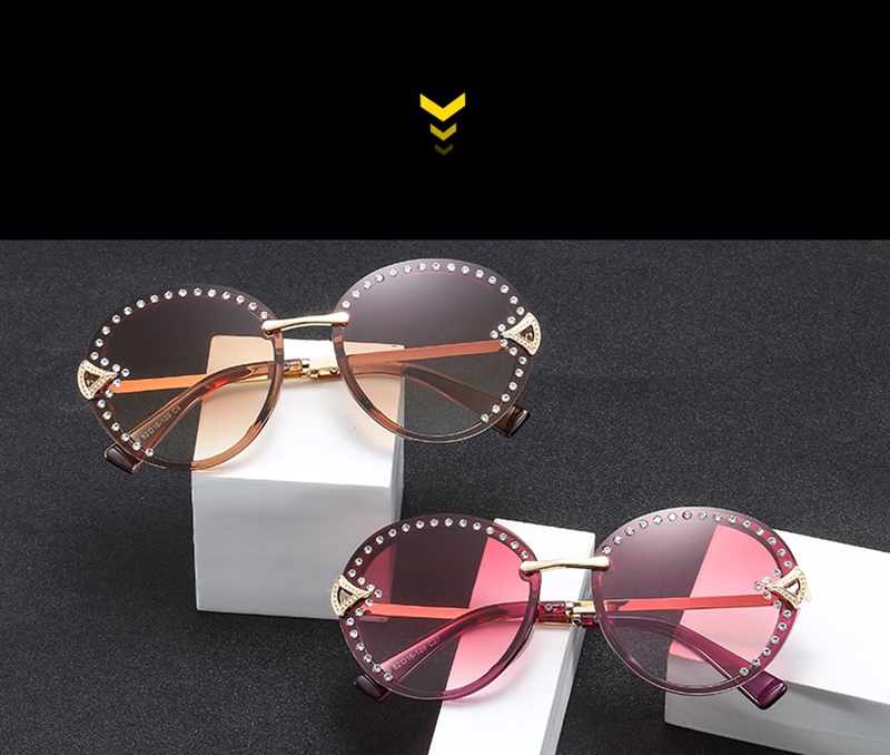 New Frameless  Fashion Women Sunglasses With Diamond Lady Sun visor bling Marine Glasses