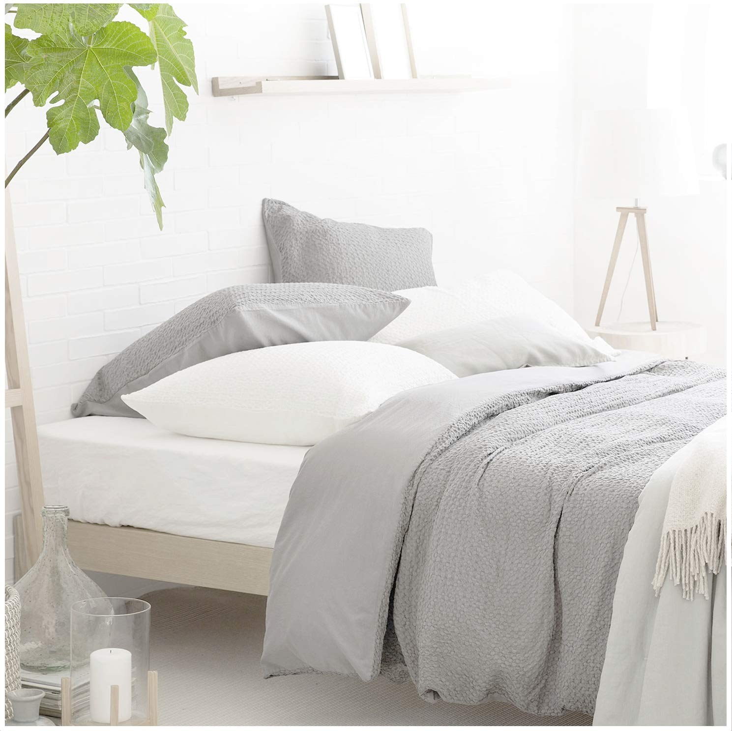Nicole Miller Home 3pc Full Queen Preppy Squares Seersucker Duvet Cover and Shams Set Modern Grey Gray Ruched Textured Duvet Cover