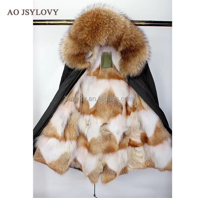 New outwear fox fur lininf ladies padded black parka with fur hood