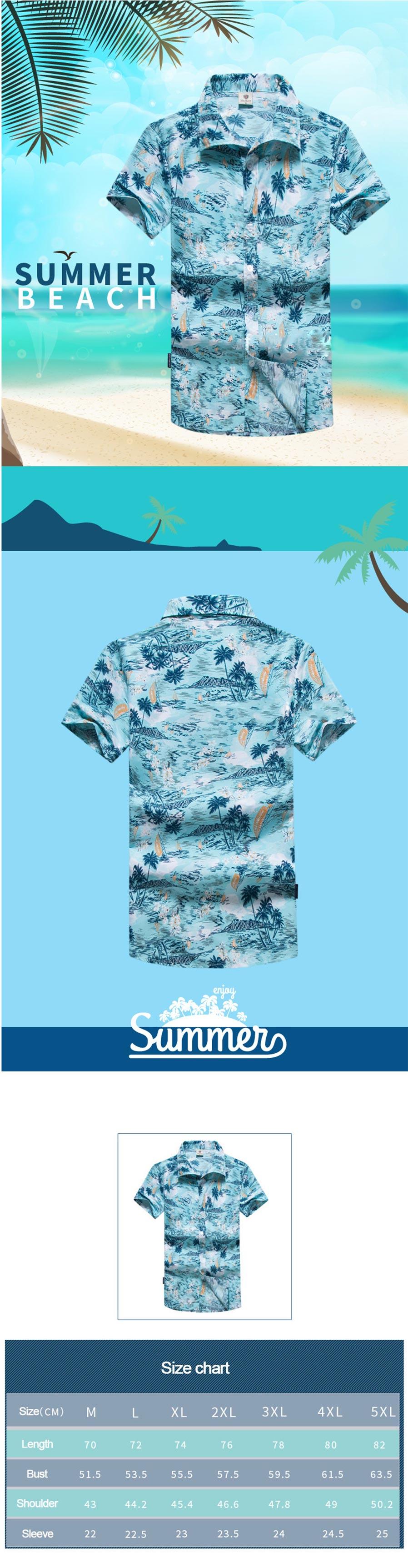 Mens Shirt Summer Style Palm Tree Print Beach Hawaiian Shirts Men ... 2b0cd5a5e4