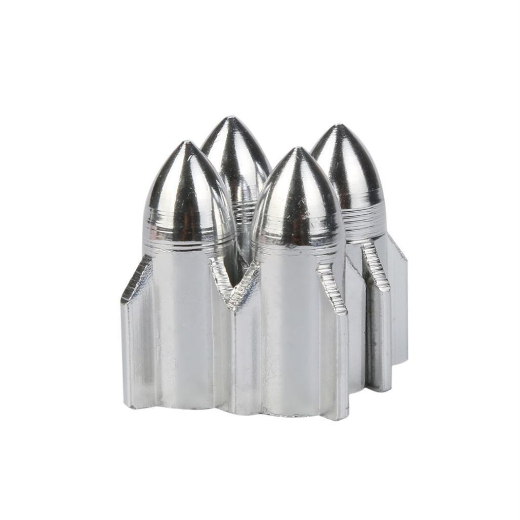 Ecosin Rocket Shape Valve Cap 4x Aluminum Bullet Car Truck Air Port Cover Tire Rim Valve Wheel Stem Caps (Silver)