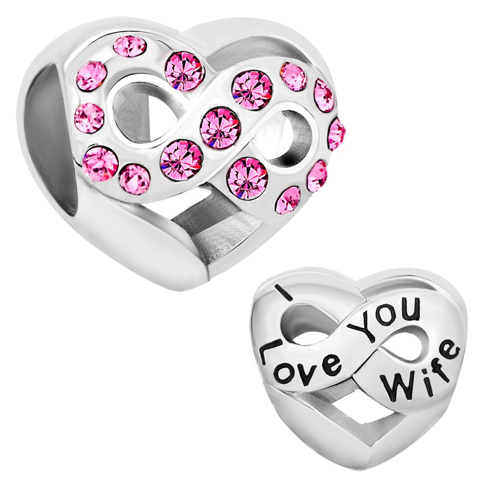 Pugster Valentine's day Gifts I Love You Wife Heart Charms Infinity Birthstone Charms Fit Pandora Charm Bracelet