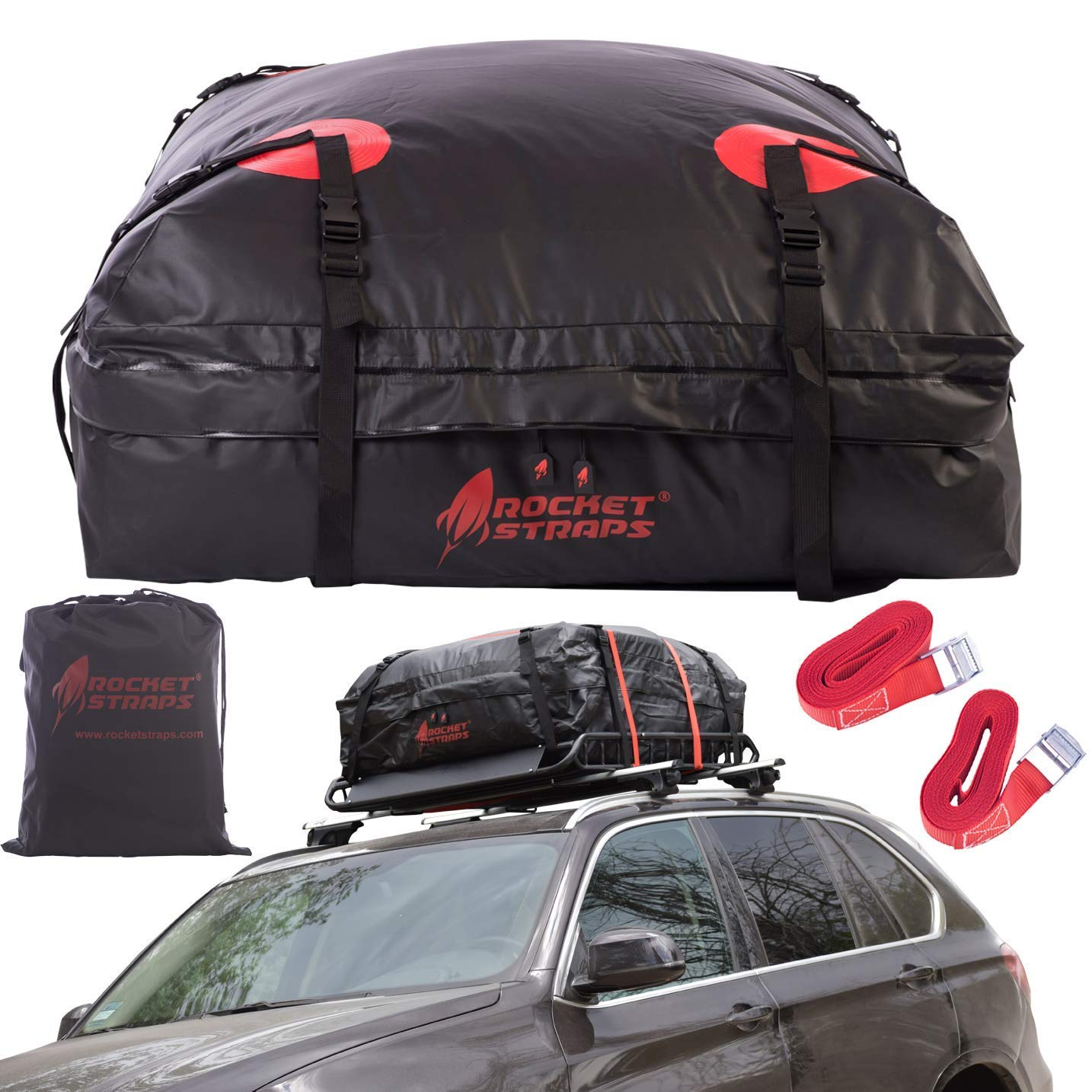 Vinosimo Car Rooftop Cargo Carrier Bag: 15 Cubit Feet 4 Straps Adjustable with or Without Racks and Carry Bag 100/% Waterproof UV Nylon with Zipper
