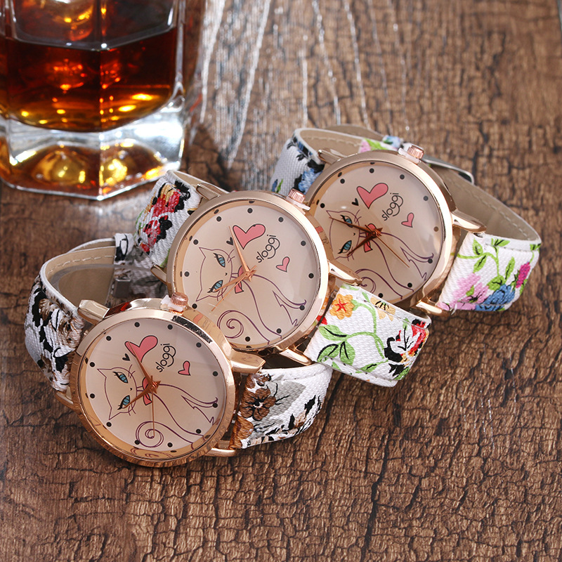 Cute Cat Dial Student Flowery  Leather Quartz Watch