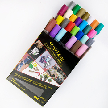 28 vivid colors acrylic marker, water based paint marker