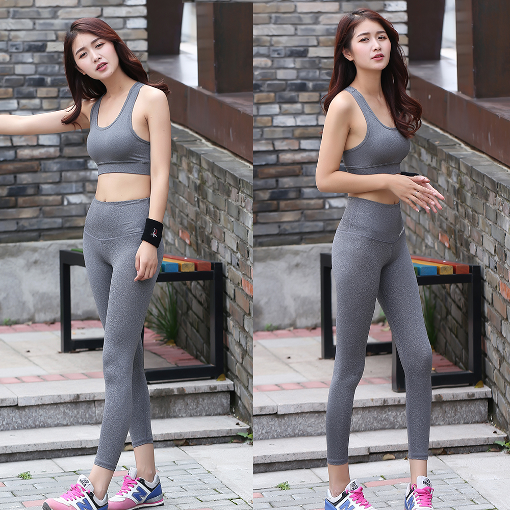 <strong>Women</strong> Stretch Athletic Two Pieces Sports Padded Bra and Capris Leggings Running Gym Yoga Fitness Bra Tank Tops Workout Pants Set