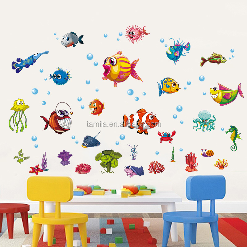 Removable cartoon fish wall stickers for kids/baby room decoration