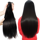 Wholesale silky straight bulk remy hair extensions human hair weave bundles closure