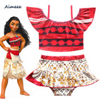 Off Shoulder Children Tankini Single Shoulder African Print Kids Swimwear Age 2-10 Years