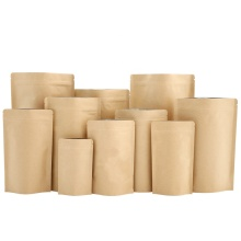 MOQ 500 aluminum foil stand up kraft paper bags with ziplock stock bags