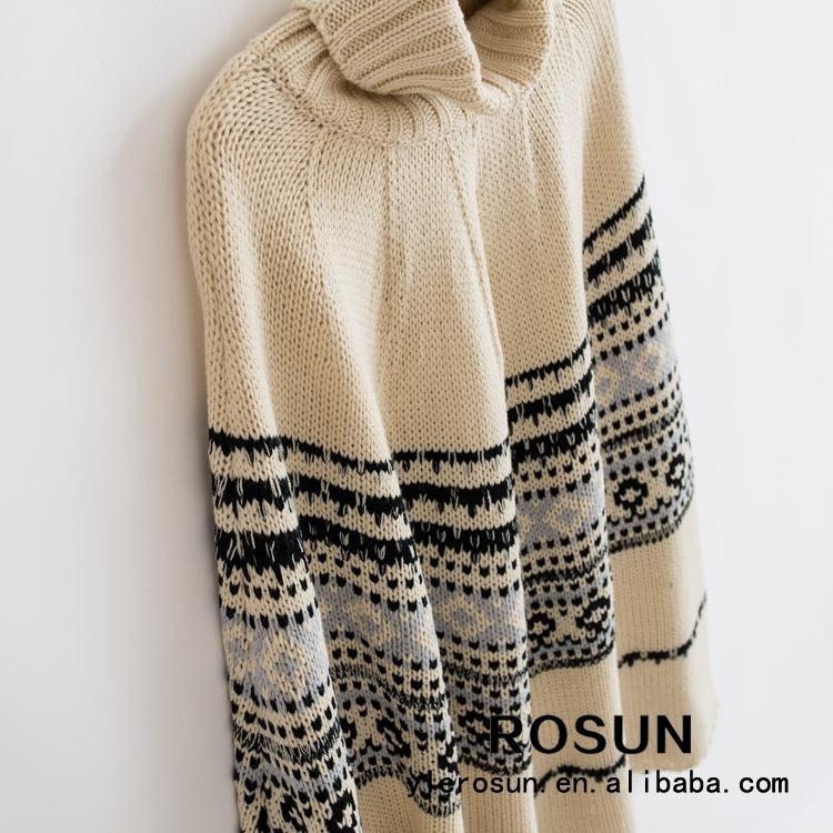 Patrón De Punto Mujeres Jersey De Cuello Alto Poncho Suéter - Buy ...