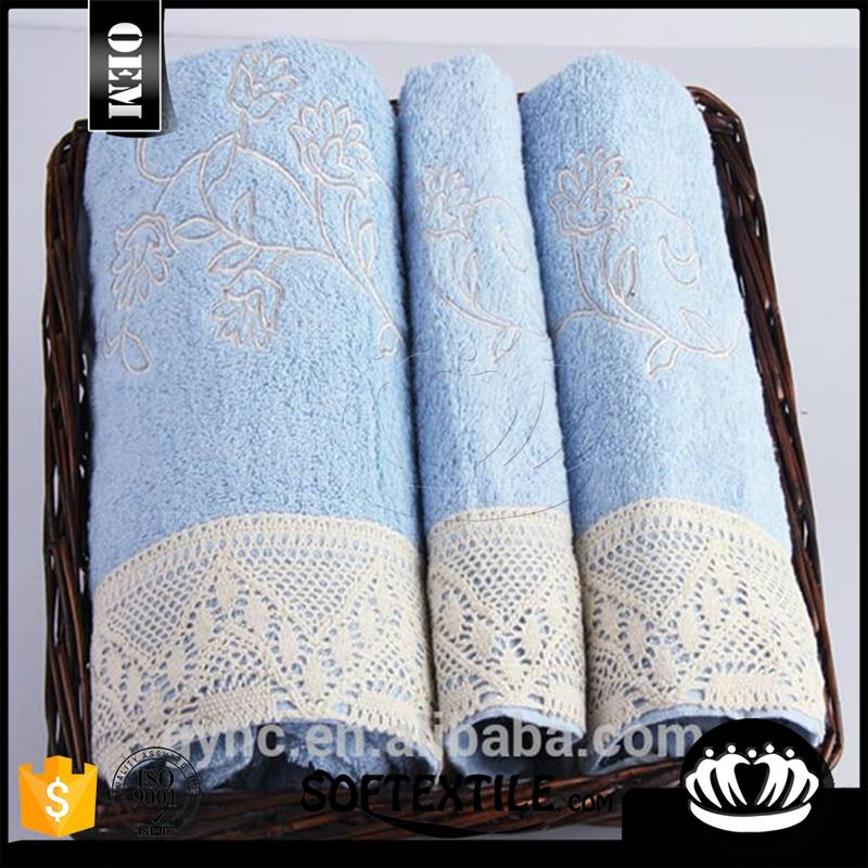 China 100% cotton customized plain dyed terry embroidered logo towel set wih lace border
