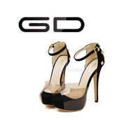Fancy metal embellished high heel shoes Peep toe shoes with transparent band Red and black platform peep toe heels