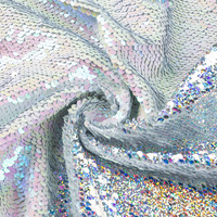 Wholesale Factory Directsale Custom-Made Double Sided Rainbow Fish Scale Flip Elegant Garment Sequin Fabric Rainbow Sequin