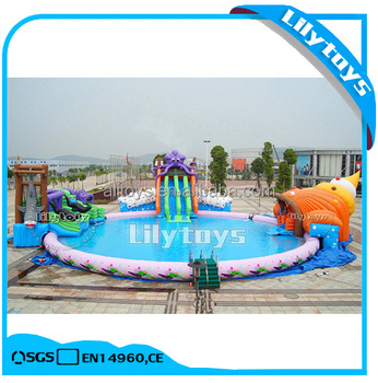 underwater world theme inflatable land moving water park with slide