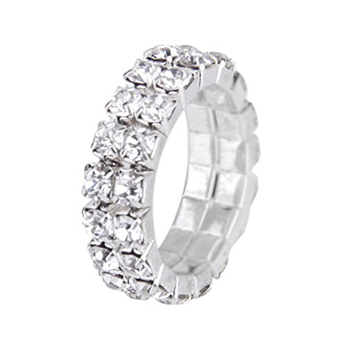 Toe Ring - SODIAL(R) 3 pcs. The elastic silver tone crystal finger ring single row rhinestone bridal jewelry 3mm