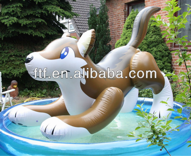 Gonflable loup dans une piscine gonflable loup poolride for Animaux gonflable piscine