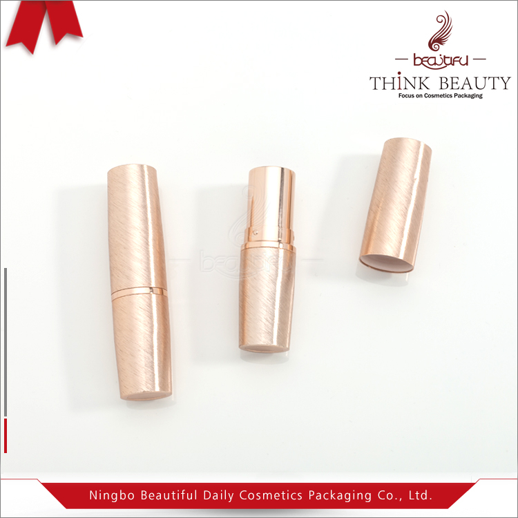Brushed Rose gold lipstick case 3.8g wholesale empty bullet lipstick container
